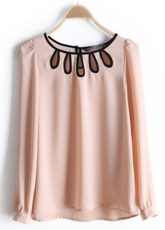 #SheInside Pink Round Neck Long Sleeve Hollow Chiffon Blouse