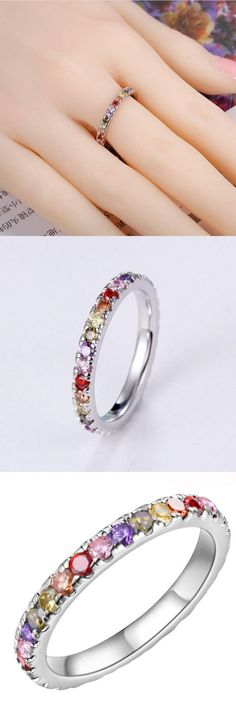 2017 New Bridal Jewelry Promise Rings Magic Rainbow Mystic Synthetic Stone RING Free Shipping In Stock