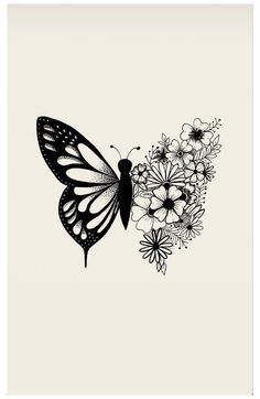 Butterfly With Flowers Tattoo, Butterfly Sketch, Butterfly Tattoo Designs, Butterfly Art, Art Flowers, Simple Butterfly Drawing, Butterfly Tattoos Images, Floral Tattoo Design, Baby Tattoos