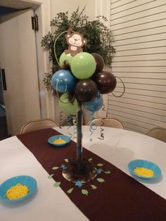 without the monkey. more for Chicago shower. mom has vases. Themed Baby Shower | Boy baby shower ideas