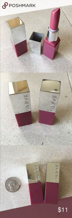 Mini Clinique lipstick DUO so cute so beautiful 😍 Two MINI Clinique Pop lip color, both same color- 14 plum pop, very gorgeous lip color. 💋💋💋 🌺🌸🌺🌸. Brand new and fresh items, one of the lip sticks was opened only this once to take pictures for the current listing.  ❗️ Please know these are made tiny, unlike those full-size sample lipsticks ‼️ bundle to save 10% ‼️ Clinique Makeup Lipstick