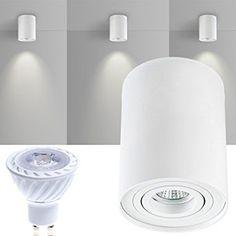 32 € verschiedene Varianen um 30 € LED Aufbaustrahler Set ZYLINDER Weiss mit LED GU10 Markenstrahler von LEDANDO - 7W COB Leuchtmittel - warmweiss - 30° Abstrahlwinkel - schwenkbar - 50W Ersatz - A+ - Aluminium - Aufbauspot