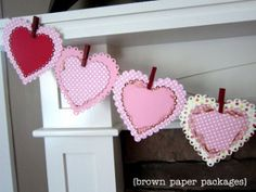 Use decorated clothespins to make a simple heart bunting for Valentine's Day