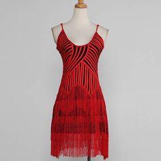 Unique Red Black Stripe Tassel Latin Ballroom Dancing Party Dress Women SKU-401334