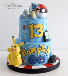 I'll be 18 next month. I wish I were 13 again. Pokemon Torte, Pokemon Go Cakes, Pokemon Cake Topper, Pokemon Birthday Cake, Pokemon Pokemon, 7th Birthday, Birthday Ideas, Pokeball Cake, Pikachu Cake