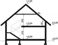 Przekrój pionowy projektu Dandys 1 G2 Easy Sewing Patterns, Good House, Exterior, Larp, House Plans, Floor Plans, Cottage, House Design, Vacation
