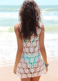 Saida de Praia Flower - Mundo Lolita Bikinis, Swimwear, One Piece, Clothing, Summer, Fashion, Beach, Yarns, World