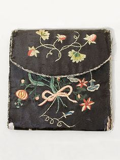 """Philadelphia hand-embroidered silk purse, c.1770-90. Provenance: several hand written notes inside """"worked by Phebe Lewis..."""""""