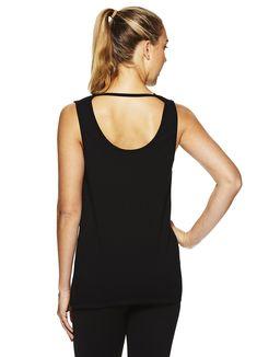22930d20286 Gaiam Womens Gemma Cowl Back Tank Top Racerback Yoga Shirt Black Tap Shoe  Small --