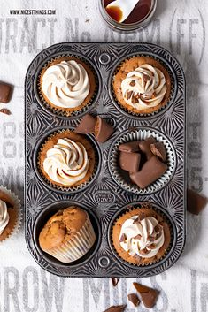 Nutella Cupcakes, Healthy Cupcakes, Chocolate Cupcakes, Easter Cupcakes, Fun Cupcakes, Muffin Recipes, Cupcake Recipes, Filled Cupcakes, Food Photography Tips