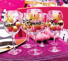 gold gumballs in cute wine glasses: Glitter & Glam Favorite Things Party {Adult Birthday} Adult Slumber Party, Adult Birthday Party, Pajama Party, Slumber Parties, Birthday Party Themes, Birthday Crafts, Sleepover, Birthday Ideas, 33rd Birthday