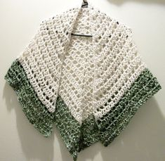 "Lacy Crochet Triangular Shawl Pattern | Crochet Lace Triangle Shawl Cream And Ivy Green Lace Shawl ""Irish ..."
