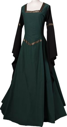 Dornbluth Carnival Halloween Renaissance Medieval Medieval Women's Dress Robe Hermia Dark Green-Black Made in Germany Medieval Dress, Medieval Clothing, Pretty Dresses, Beautiful Dresses, Fairy Clothes, Fairy Dress, Dress Robes, Fantasy Dress, Madame