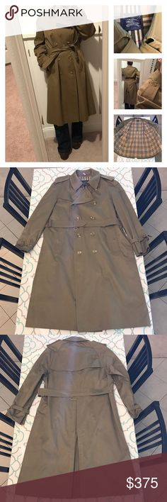 ❤️Gorgeous Long Vintage Burberry Men's Coat❤️XL 54 ❤️Gorgeous Vintage Burberry Long Coat❤️ So Classy. So Classic. Timeless. Size 54R (XL). Made in England. Very Very Good Vintage Used Condition. Small inconspicuous tear in lining. Wear to buckles (as pictured). Beautiful Trench Coat. You can feel the quality. Iconic Plaid Burberry Lining. Honey Color. Men's. Burberry! Ask me any questions! : ) Burberry Jackets & Coats Trench Coats