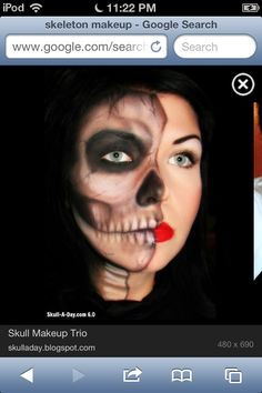 Half Skull face/ halloween makeup | f α l l ☠ | Pinterest ...