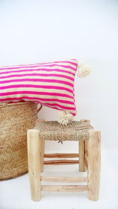 Moroccan POM POM Wool Pillow Cover - Extra Long in Pink Stripes Each of cushions cover is cut from an Wool Blanket, handwoven in Morocco on Wool Pillows, Wool Blanket, Cushions, Marrakech, Summer Deco, Dream Beach Houses, Textiles, Moroccan Decor, Pink Stripes