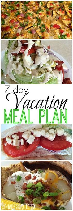 Planning out meals ahead of time saves time and money. This 7 day family vacation meal plan includes ideas for breakfasts, lunches, suppers, and snacks.