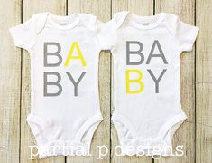 TWINS Pregnancy Announcement Bodysuits Baby A and B Baby, multiples
