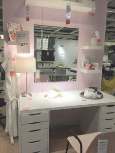 MakeUp station, but perfect for craft room / office table. Linnmon desk top with Alex Drawers as legs (price difference b/c 2 alex drawers in pic vs. 1 on website)