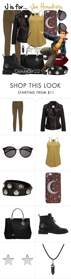 """""""J is for... Jim Hawkins"""" by disneygirl22 ❤ liked on Polyvore featuring Paige Denim, Anine Bing, Yves Saint Laurent, Angie, Versace, MICHAEL Michael Kors, Giuseppe Zanotti, Jennifer Meyer Jewelry, Lime Crime and disney"""