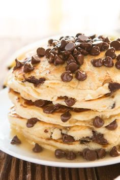 Chocolate Chip Pancakes ll via ItsFoodPorn #breakfast #chocolatechips #pancakes #food #delicious #yum #yummy #dessert #yummy #l4l #chocolate