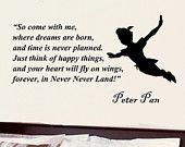 Peter Pan Second star to the right inspirational wall phrase word saying vinyl decal 35i. $18.99, via Etsy.