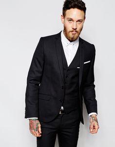 Heart & Dagger Suit Jacket in Birdseye Fabric in Super Skinny Fit - Bl