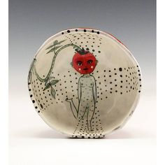 Cherry Tomato  Painting by Jenny Mendes in a Ceramic Pinch