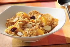 Warm up with this easy-to-make, fat-free Post Raisin Bran Fruit Crumble. The mixed textures of the fruit and the cereal compliment each other almost as well as the delightful flavors of cinnamon and peaches.