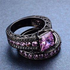 Vintage Emerald Cut Black Gold Pink Bridal Set :: Black Gold Collection