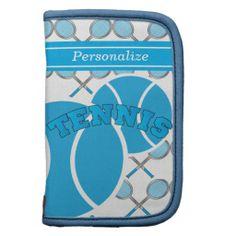 Blue Personalize Tennis Planner.  www.zazzle.com/designsbydonnasiggy*  #sports #tennis #zazzle