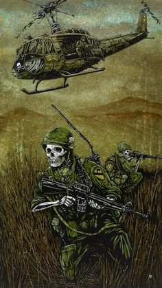 Day of the Dead Art by David Lozeau, 1st Air Cav, Dia de los Muertos Art - 1