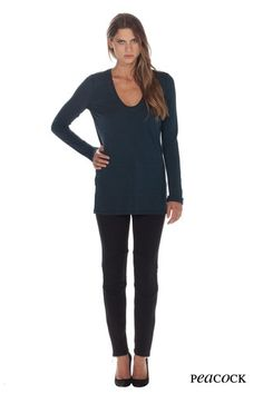 We have this top from Fluxus.  Triblend cotton army and black in a tissue weight cotton.
