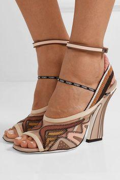 Fendi - Logo-print appliquéd mesh and neoprene sandals 1e84520a9f4