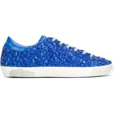 Golden Goose Deluxe Brand Superstar sneakers ($795) ❤ liked on Polyvore featuring shoes, sneakers, blue, distressed sneakers, lacing sneakers, blue leather shoes, glitter sneakers and star sneakers