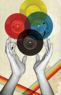 Collage / LP / Record / Rainbow / 45 / Hands