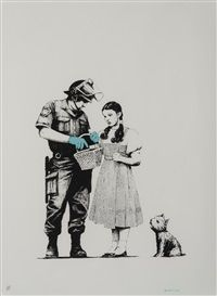 """Banksy, """"Stop and Search,"""" 2011, Spray Paint Stencil.  """"Banksy is a British street artist and activist who, despite worldwide fame, has maintained anonymity. Banksy's work acts as visual cultural criticism and commentary, with established social and political agendas serving as targets for a unique style of illustration made using stencils and spray paint."""" This artist ties into my key concept that """"communication reflect's one's personal beliefs."""""""