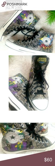 17a102d9b JUSTICE LEAGUE DC COMICS CONVERSE ALL STAR SNEAKER The ultimate ALL-STAR  CONVERSE team of