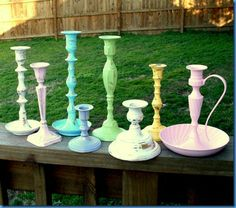 Thrift store candleholders painted and distressed. Perfect springtime colors:)