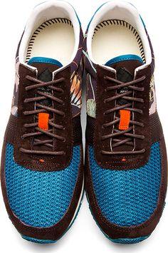 Paul Smith Jeans: Purple & Blue Suede Paneled Moogg Sneakers
