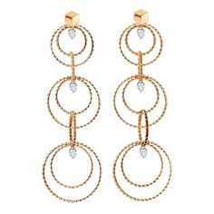 """Paolo Costagli """"Brillante Circle"""" 18k Rose Gold & Diamond Long Drop Earrings - Paolo's totally modern take on the chandelier earring....I am SO sold!!!"""