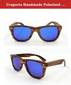 Ucsports Handmade Polarized Sunglasses With Wooden Frame (Blue, Brown). total width 14.8cm,Lens width 5.3cm , Frame height 4.3cm, NW glasses 26g. All the natural wood or bamboo are painstakingly selected from sustainable resources,100% eco-friendly & 100% handcrafted. The lens are polarized with UV400(European Standard) protection to keep your eyes from harmful sun rays. Real wood frame with flexible spring hinge bracket. Suitable for Shopping, driving, travel, sports, party etc.