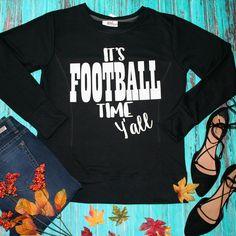 """It's Football Time Y'all"" Black Sweatshirt | Cali Boutique | FREE U.S. Shipping!"