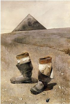 """Sea boots"" (1976), by Andrew Wyeth. Master of pale colours and strange colour combos (imo)."