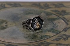 Bee Signet Ring | Etsy School Rings, Bee Ring, Oxidized Sterling Silver, Signet Ring, Rings For Men, Etsy Shop, Gold, Jewelry, Men Rings