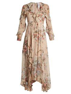 Queen Of Sheeba Ruffled Printed Silk-Georgette Gown Johanna Ortiz ShRVc