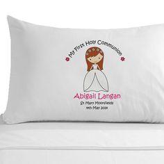 Personalised Girl s Communion Pillowcase - Handmade Personalised 1st Holy Communion Gift under pound 10 00 - Cheap Keepsake First Holy Communion