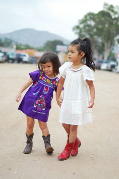 Vintage Mexican tunic dresses @Sarah Mitchell I know a couple of little white girls that would look very cute in these outfits!