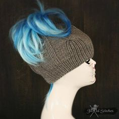b69581df556 Items similar to Knitted Messy bun Ponytail hat beanie - Cable knit tail winter  hat beanie womens accessory acrylic warm light grey on Etsy