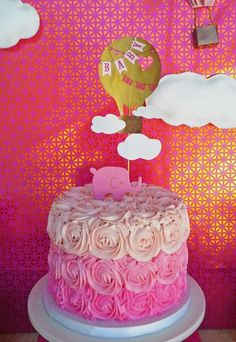 Hot Air Balloon Baby Shower Party rose ombre cake!  See more party ideas at CatchMyParty.com!